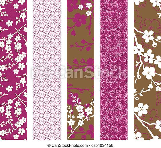 schémas floraux, vecteur, ensemble - csp4034158