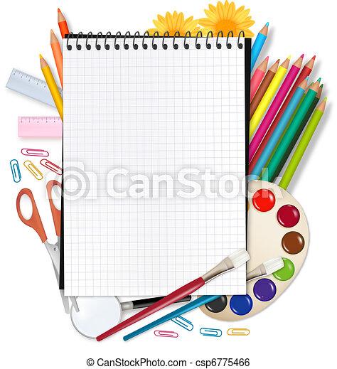 school., dos, école, bloc-notes - csp6775466