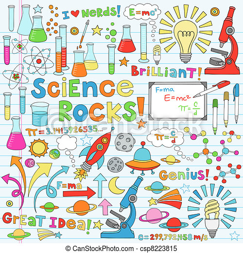science, vecteur, illustration, doodles - csp8223815