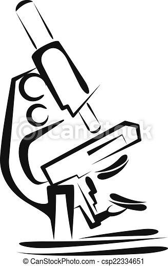 scientifique, illustration, concept, microscope. - csp22334651
