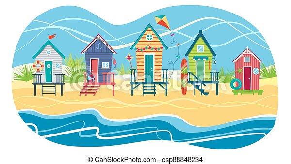 sea., illustration, plage, plat, contre, rang, huttes, vecteur, holiday., paysage, été - csp88848234