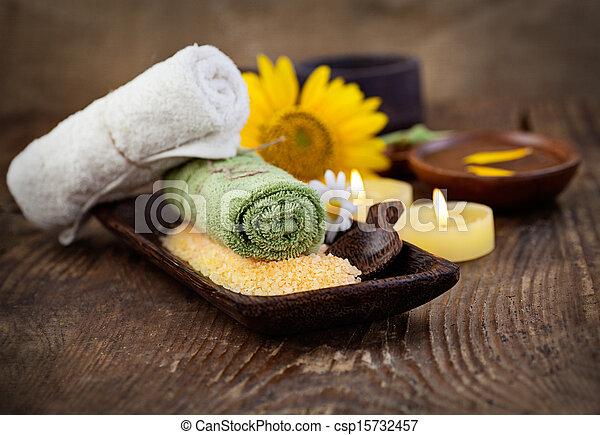 sel, ensemble, naturel, copyspace, dayspa, brun, wellness, nature, sunflower.., bain, massager, monture, bougies, spa, serviette - csp15732457