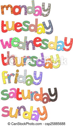 semaine, texte, art, jours, agrafe - csp25885688
