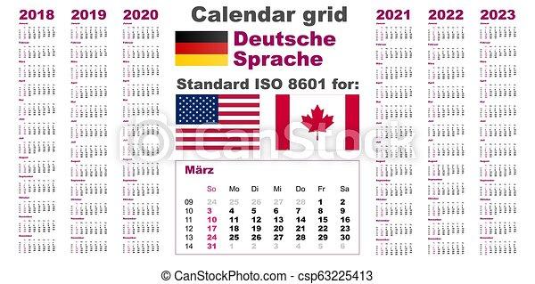 Calendrier 2018:2022 Semaine, usa, langue, deutsch, allemand, us., dimanche, norme