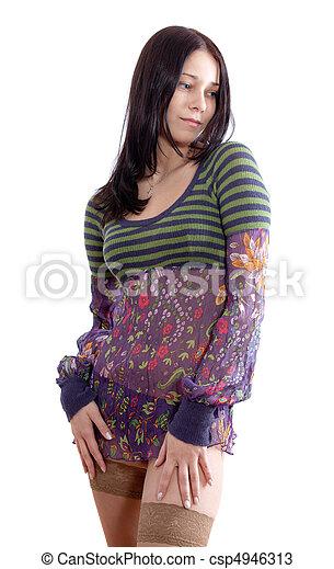 sexy, girl, robe - csp4946313