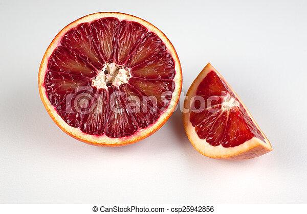 sicilien, sanguine, moitié, isolé, blanc rouge, cale, orange - csp25942856