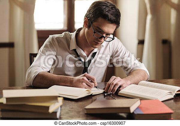 sien, work., séance, écrivain, jeune, écriture, sketchpad, quelque chose, table, beau - csp16300907