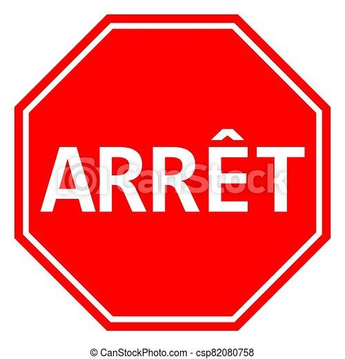 signe, arret, arrêt, francais, vecteur, illustration - csp82080758