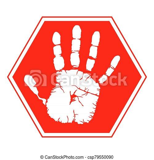 signe, handprint, symbole avertissement, illustration, vecteur, - - csp79550090