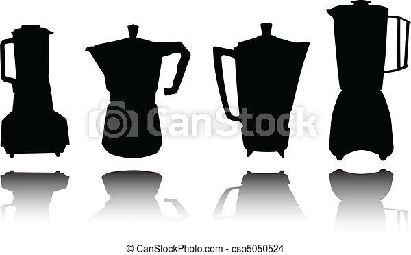 silhouett, outillage, vecteur, coffe, cuisine - csp5050524