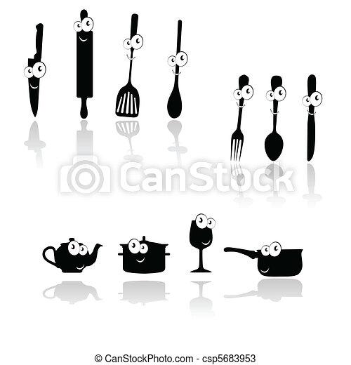 silhouett, outillage, vecteur, noir, cuisine - csp5683953