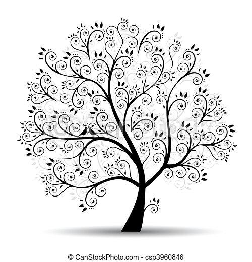 silhouette, art, arbre, beau, noir - csp3960846