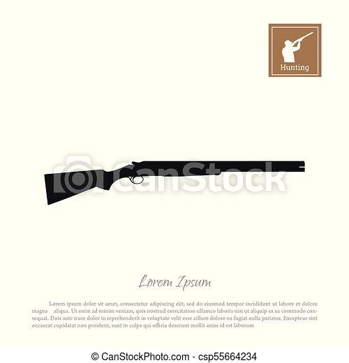 silhouette, chasse, fusil, arrière-plan., noir, fusil, blanc, icône - csp55664234