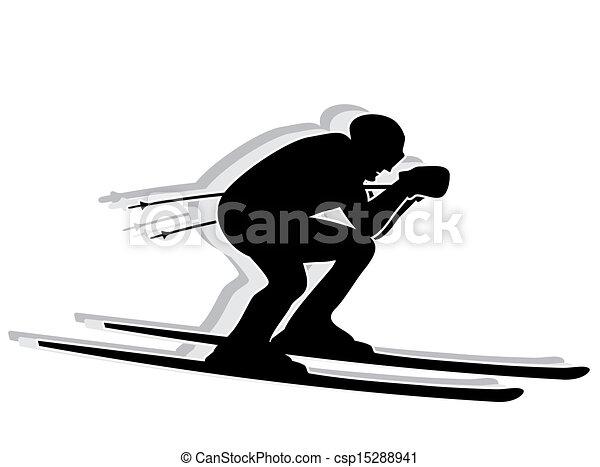 silhouette, concurrent, -, ski - csp15288941