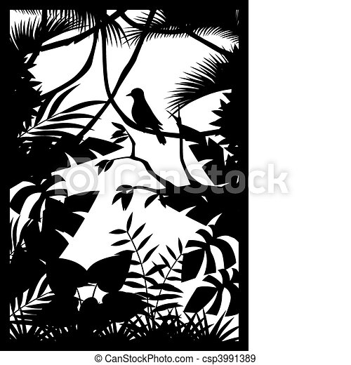 silhouette, forêt - csp3991389