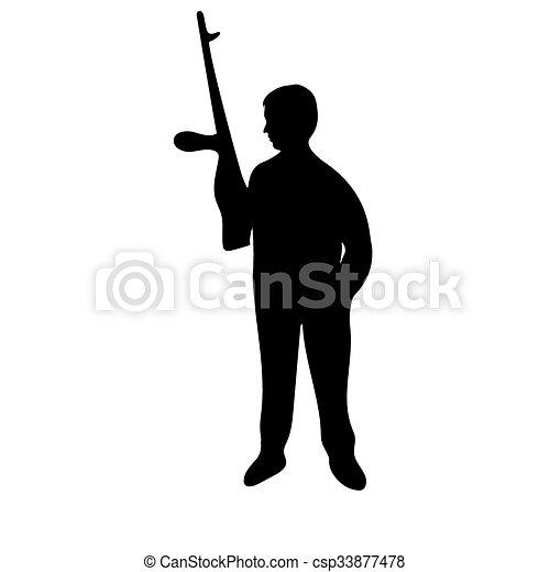 silhouette, fusil, homme - csp33877478