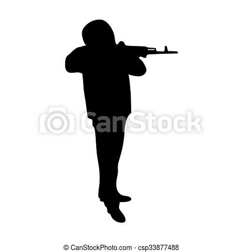 silhouette, fusil, homme - csp33877488