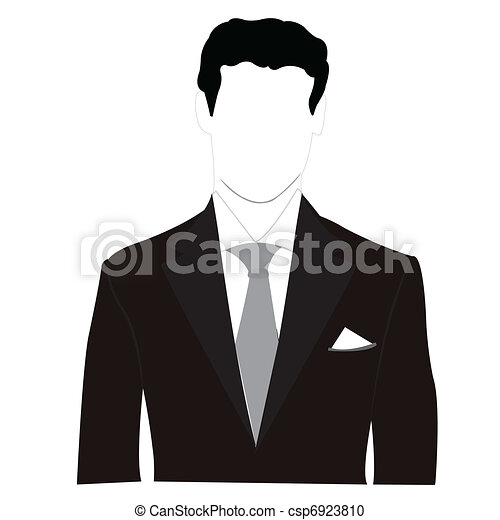 silhouette, hommes, costume noir - csp6923810