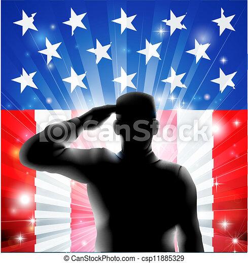 silhouette, nous, soldat, drapeau, militaire, saluer - csp11885329