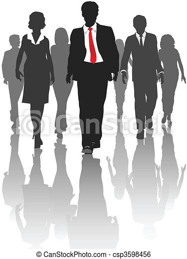 silhouette, professionnels, promenade, ressources humaines - csp3598456