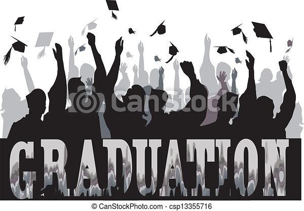 silhouette, remise de diplomes, célébration - csp13355716