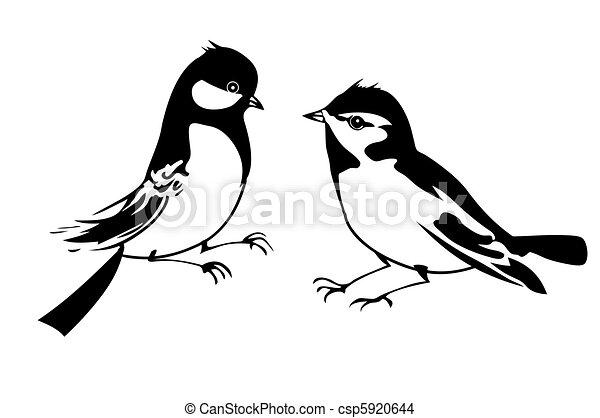 silhouette, vecteur, fond, petit, oiseau blanc - csp5920644