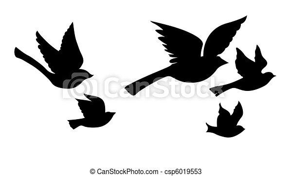 silhouette, voler, vecteur, fond, blanc, oiseaux - csp6019553