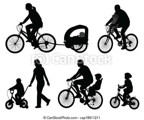 silhouettes, cyclistes - csp18911211