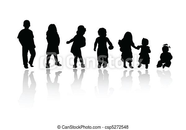 silhouettes, enfants, - - csp5272548