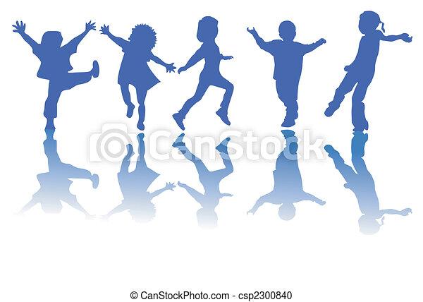 silhouettes, enfants, heureux - csp2300840