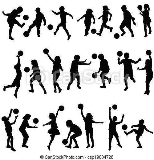 silhouettes, ensemble, jouer, balles, enfants - csp19004728