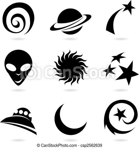 silhouettes, espace, icônes - csp2562639