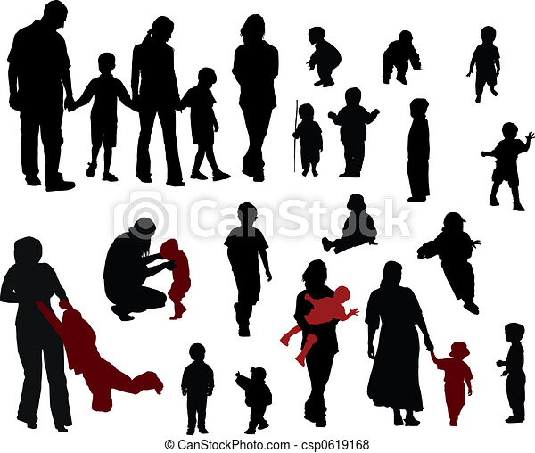 silhouettes, famille - csp0619168