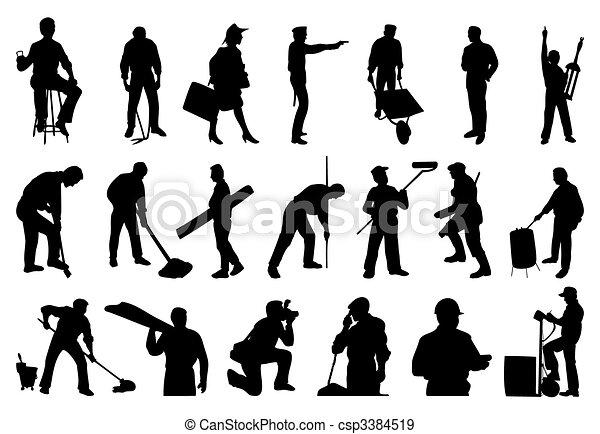 silhouettes, gens., vecteur, illustration, fonctionnement - csp3384519