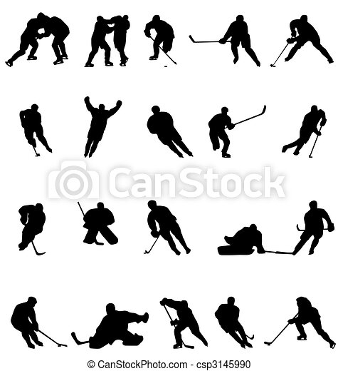 silhouettes, hockey, collection - csp3145990