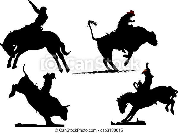silhouettes., illustration, quatre, rodéo, vecteur, noir, blanc - csp3130015