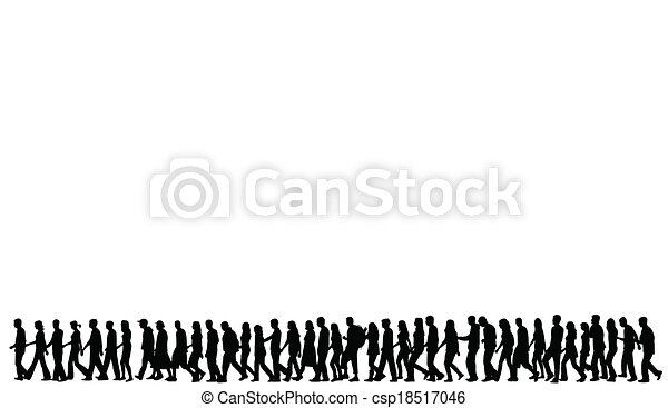 silhouettes, marche, gens - csp18517046
