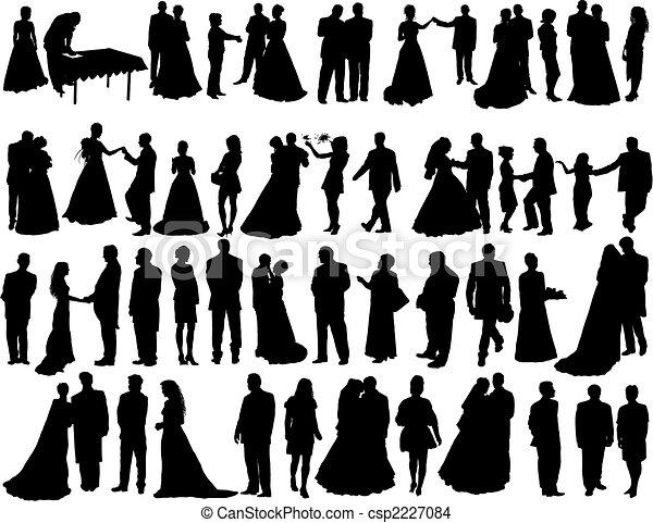 silhouettes, mariage - csp2227084