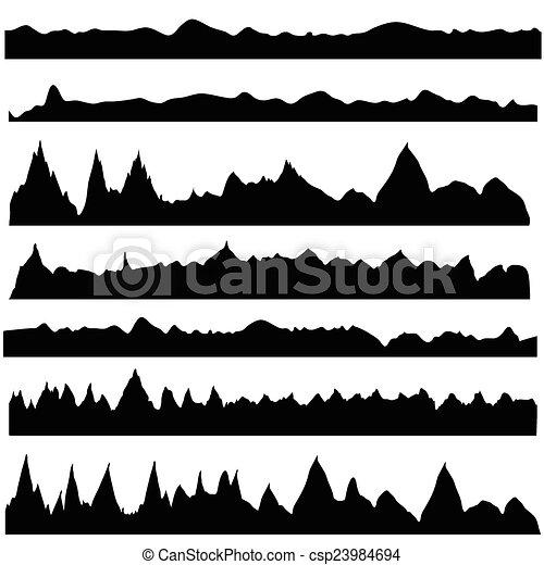 silhouettes, montagne - csp23984694