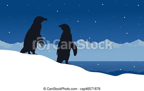 silhouettes, paysage, glace, manchots - csp46571876