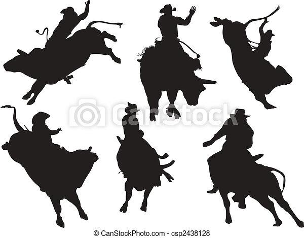 silhouettes., rodéo, vecteur, six, illustration - csp2438128