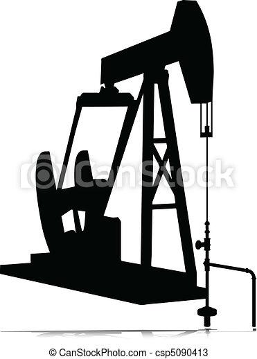 silhouettes, vecteur, cric, huile - csp5090413