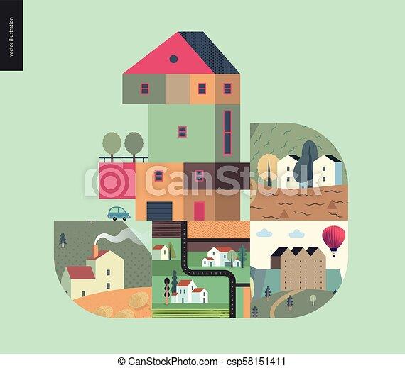 simple, choses, -, composition, maisons - csp58151411