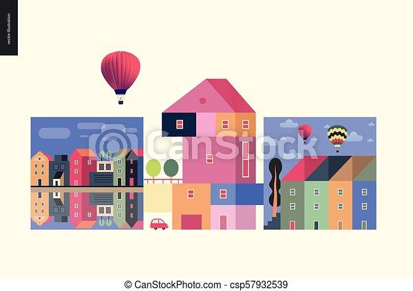 simple, choses, -, composition, maisons - csp57932539