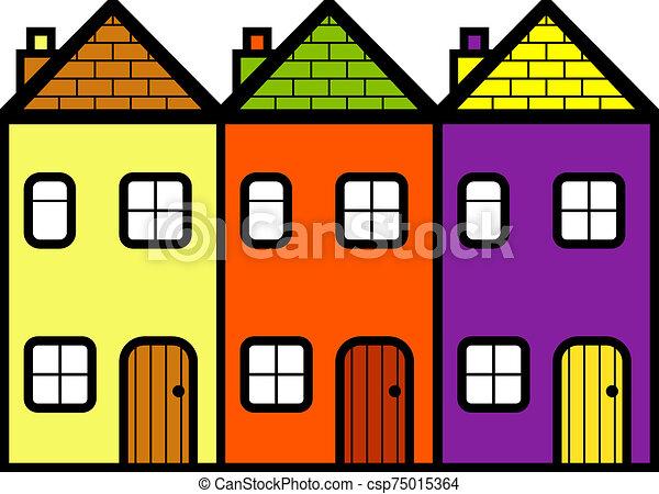 simple, ensemble, trois, maisons, debout, plat, dessin animé - csp75015364