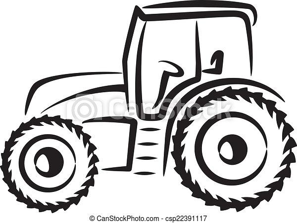 simple, illustration, tracteur - csp22391117