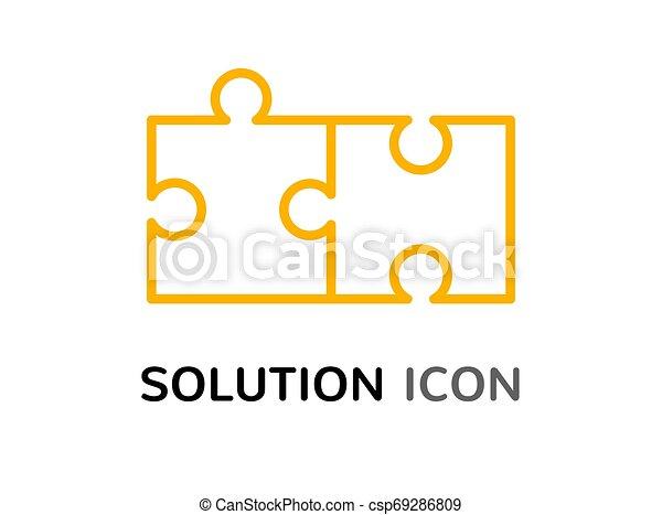 simple, puzzle, résoudre, solution, concept, conception, réunir, problème, icône - csp69286809