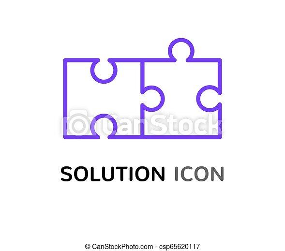 simple, puzzle, résoudre, solution, concept, conception, réunir, problème, icône - csp65620117