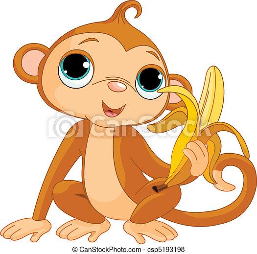 singe, rigolote, banane - csp5193198