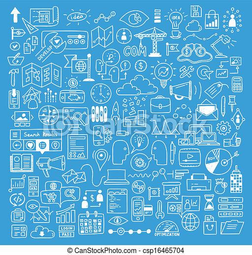 site web, développement, éléments, business, doodles - csp16465704